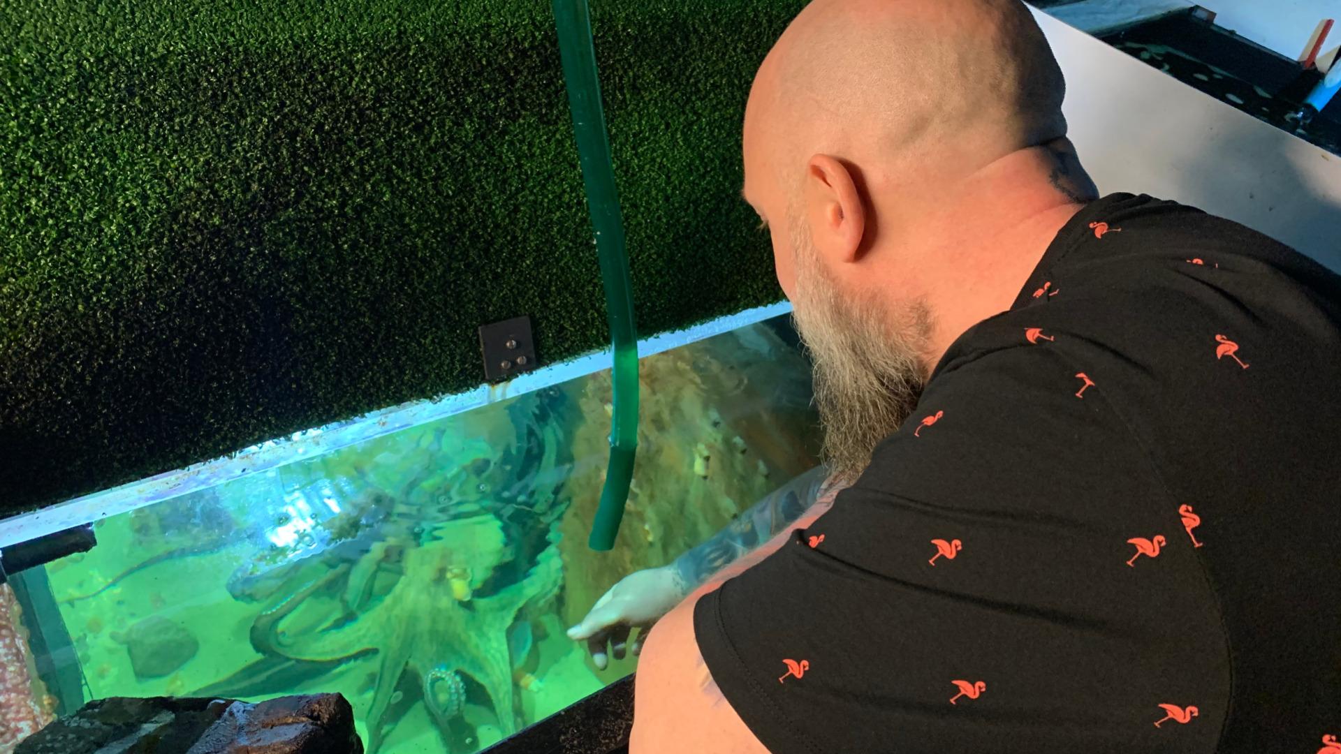 Uno Gregersen prøver at få kontat med blæksprutten